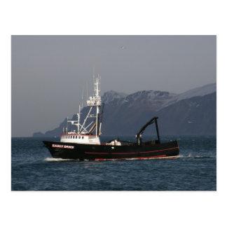 Cartão Postal Alvorecer adiantado, barco do caranguejo no porto
