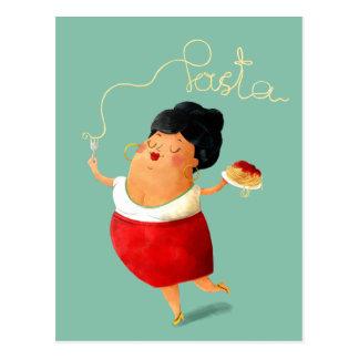 Cartão Postal Amante italiano da massa dos espaguetes