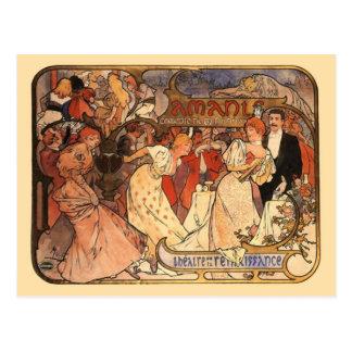 Cartão Postal Amants, Alphonse Mucha