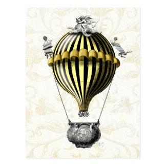 Cartão Postal Amarelo barroco do preto do balão