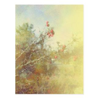 Cartão Postal Amarelo das bagas e dos ramos