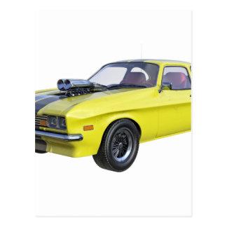 Cartão Postal Amarelo do carro de 1970 músculos com listra preta