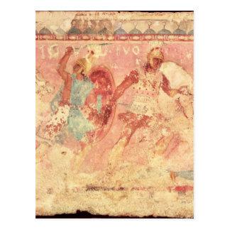 Cartão Postal Amazons que lutam um guerreiro grego