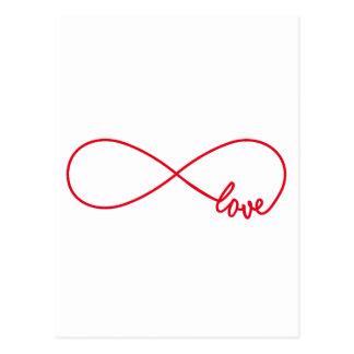 Cartão Postal Ame para sempre, sinal vermelho da infinidade,