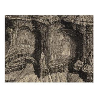 Cartão Postal Ameias ou painéis, pedra calcária vermelha da