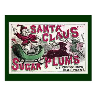 Cartão Postal Ameixas do açúcar de Papai Noel - natal vintage