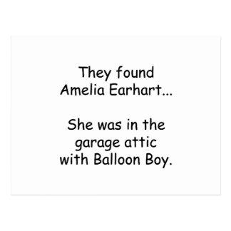 Cartão Postal Amelia Earhart & menino do balão