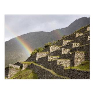 Cartão Postal Ámérica do Sul, Peru, Machu Picchu. Arcos-íris