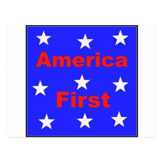"""Cartão Postal """"América vermelha, branca, e azul primeiramente"""""""