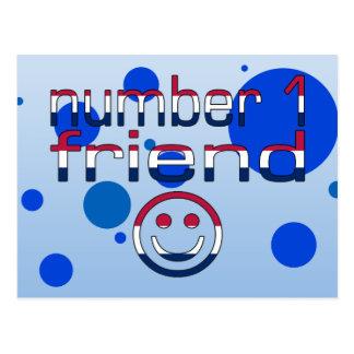 Cartão Postal Amigo do número 1 em cores da bandeira americana