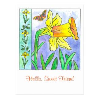 Cartão Postal Amigo doce da flor da aguarela do Daffodil olá!