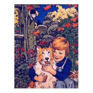 Cartão Postal Amigo Jim do vintage e seu cão por John Rae