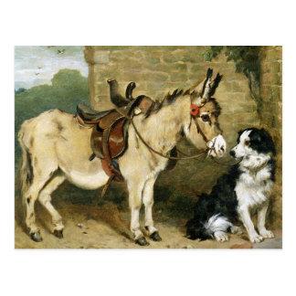 Cartão Postal Amigos animais do cão & do asno - arte do vintage
