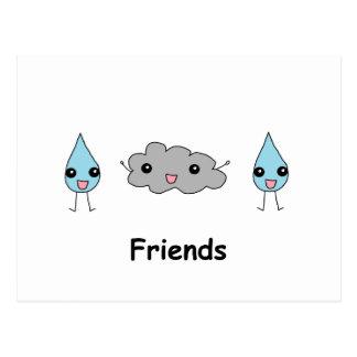 Cartão Postal Amigos bonitos da nuvem e do pingo de chuva