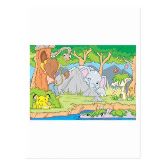 Cartão Postal Amigos do animal selvagem que jogam o couro cru -