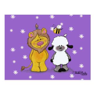 Cartão Postal Amigos verdadeiros do leão e do cordeiro