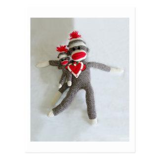 Cartão Postal Amor #1 do macaco da peúga