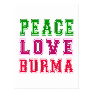 Cartão Postal Amor Burma da paz