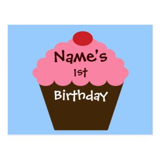 Cartão Postal Amor cor-de-rosa do cupcake