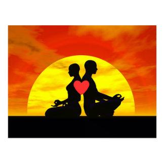 Cartão Postal Amor da ioga - 3D rendem