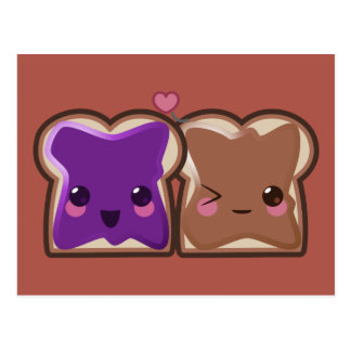 Cartão Postal Amor da manteiga e da geléia de amendoim