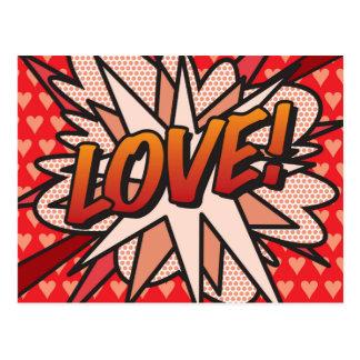 Cartão Postal AMOR do pop art da banda desenhada!