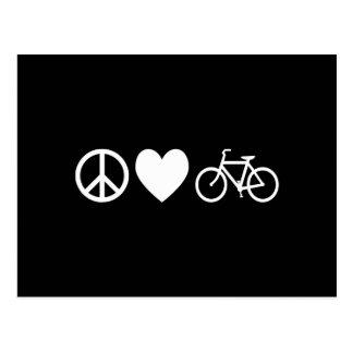 Cartão Postal Amor e bicicletas da paz