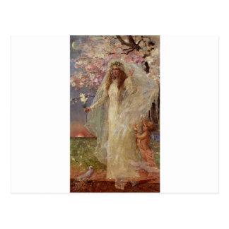 Cartão Postal Amor e casamento por Alfred Stevens