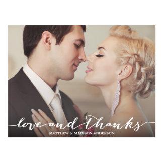 Cartão Postal Amor e folha de prova do roteiro dos obrigados