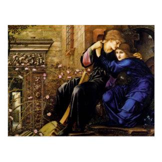 Cartão Postal Amor entre a arte do Pre-Raphaelite das ruínas