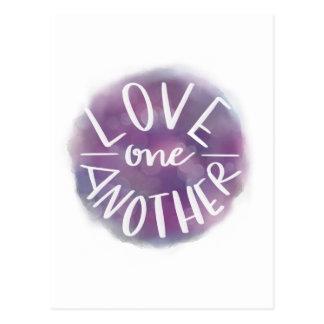 Cartão Postal Amor Mão-Indicado por letras um outro de Bokeh da