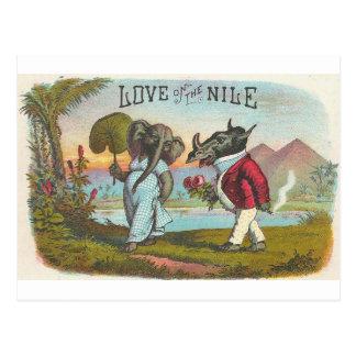 Cartão Postal Amor na arte da etiqueta do charuto do vintage de