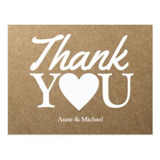 Cartão Postal amor & obrigados da textura de kraft do falso