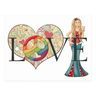 Cartão Postal AMOR, paz e menina coloridos do Hippie do coração