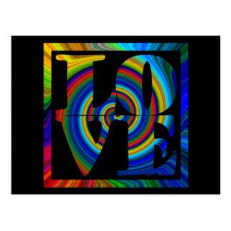 Cartão Postal amor quadrado espiral quadro colorburst