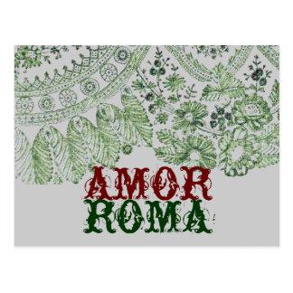 Cartão Postal Amor Roma com laço verde