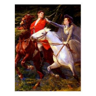 Cartão Postal Amor romântico dos cavalos de equitação da senhora