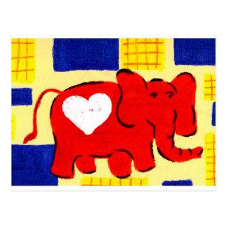 Cartão Postal Amor vermelho do elefante