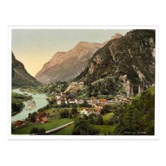 Cartão Postal Amsteg, da estrada de ferro, estrada de ferro do