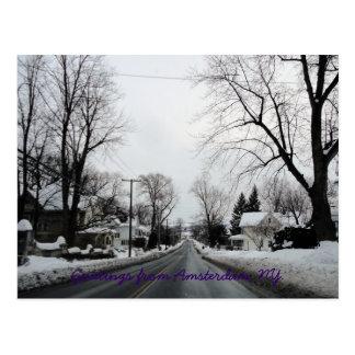 Cartão Postal Amsterdão com pouca neve
