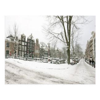 Cartão Postal Amsterdão nevado nos Países Baixos