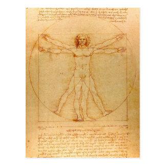 Cartão Postal Anatomia humana, homem de Vitruvian por Leonardo