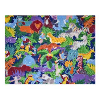 Cartão Postal Animais coloridos da selva