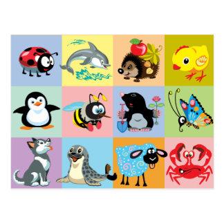Cartão Postal animais dos desenhos animados para miúdos