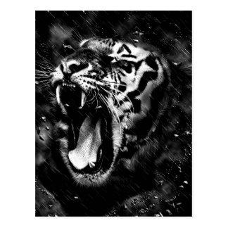Cartão Postal Animais selvagens bonitos pretos & brancos da