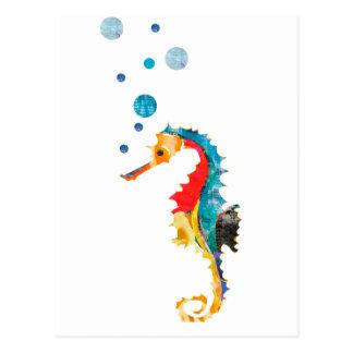 Cartão Postal Animal bonito do oceano do cavalo marinho do