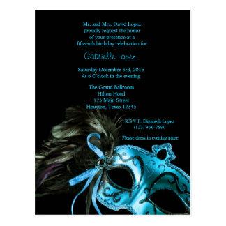 Cartão Postal Aniversário azul de Quinceanera da bola de
