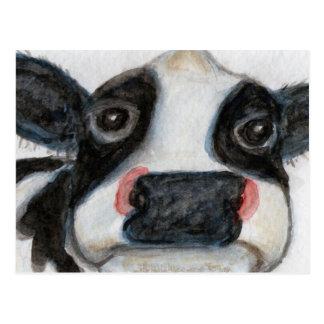 Cartão Postal Aniversário bonito do watercolour da vaca thankyou