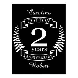 Cartão Postal Aniversário de casamento do algodão 2 anos casados