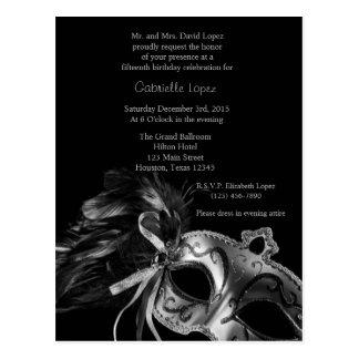 Cartão Postal Aniversário de prata de Quinceanera da bola de